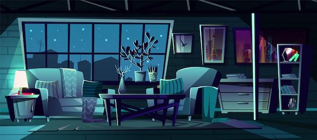 Karikaturillustration des modernen wohnzimmers nachts. Kostenlosen Vektoren