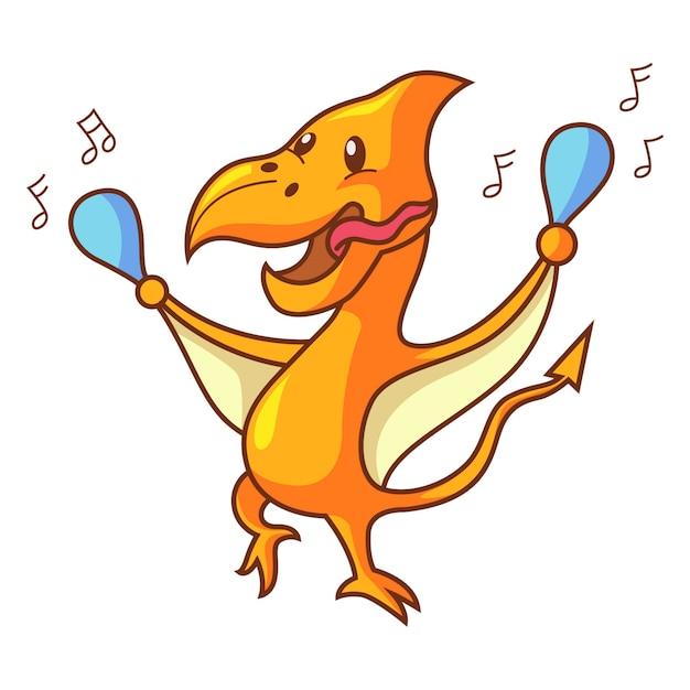 Karikaturillustration des netten dinosaurierpteranodon-tanzens. Premium Vektoren