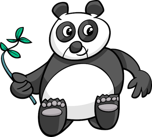 Karikaturillustration des riesigen pandas Premium Vektoren
