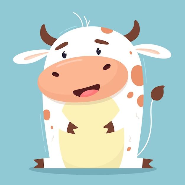 Karikaturillustration einer kuh Premium Vektoren