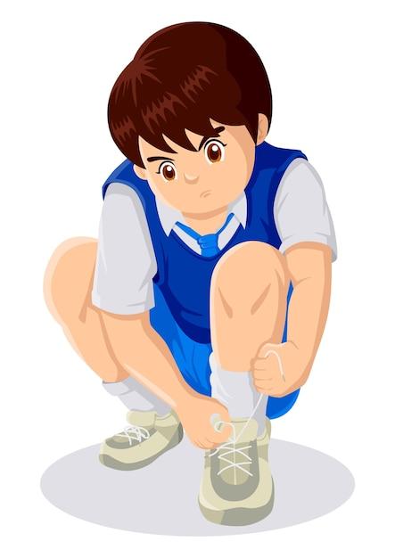 Karikaturillustration eines kindes, das spitzee bindet Premium Vektoren
