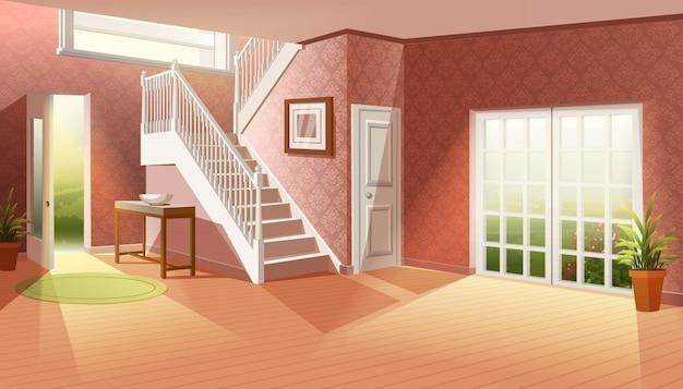 Karikaturillustration ohne möbel. großes leeres wohnzimmer mit großen fenstern zum garten und eingang mit großen treppen. Premium Vektoren
