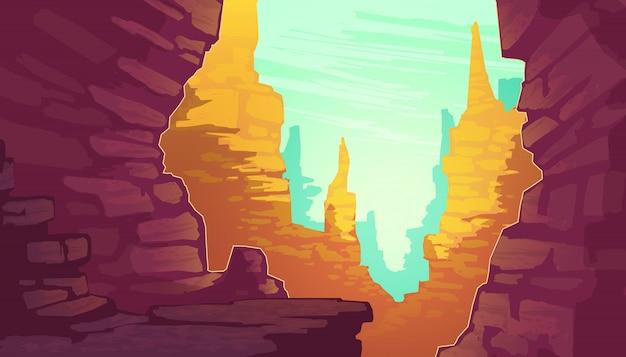 Karikaturillustration von grand canyon, nationalpark von arizona-staat auf dem colorado. Kostenlosen Vektoren