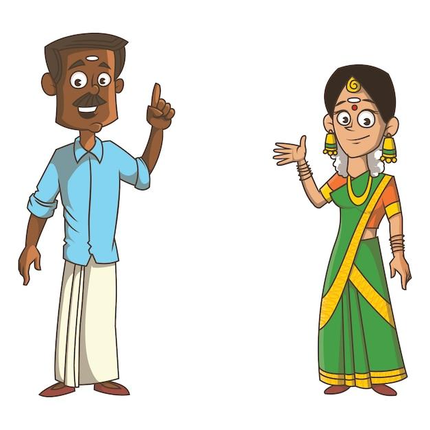 Karikaturillustration von kerala-paaren. Premium Vektoren