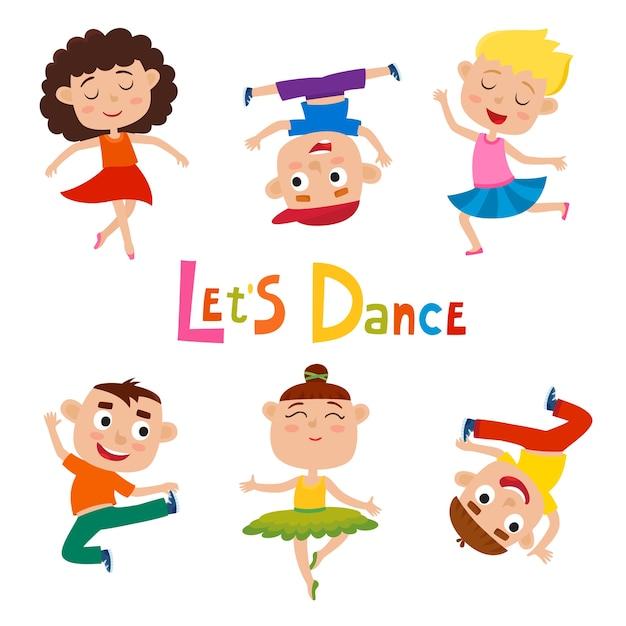 Karikaturillustration von kleinen anmutigen mädchen-tänzerin und glücklichen hipster-jungen auf weißem, modernem tanz, ballett, das von kindern durchgeführt wird. Premium Vektoren