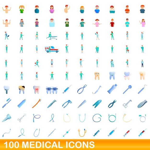 Karikaturillustration von medizinischen symbolen, die auf weiß lokalisiert werden Premium Vektoren