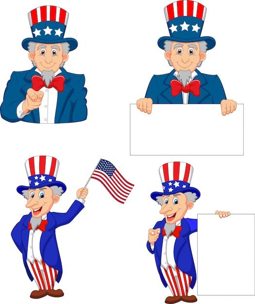 Karikaturillustration von onkel sam collection set Premium Vektoren