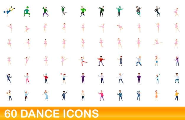 Karikaturillustration von tanzikonen gesetzt lokalisiert auf weiß Premium Vektoren