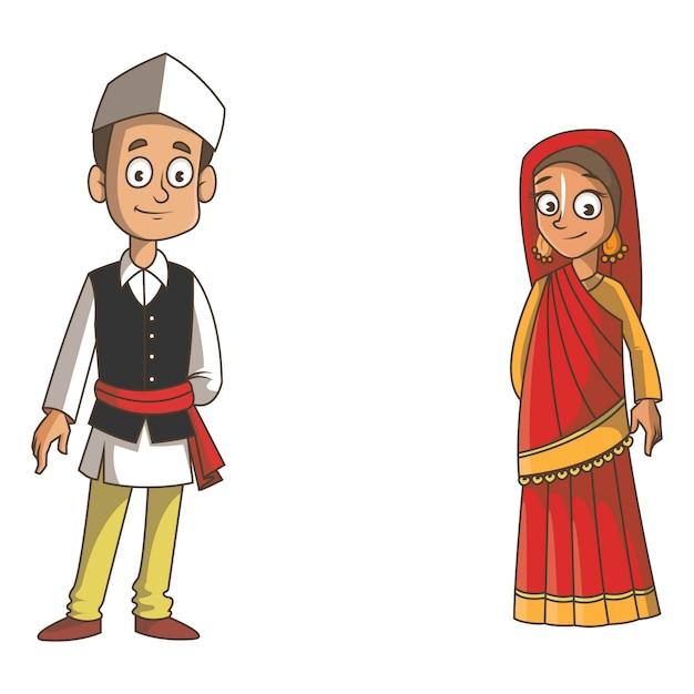 Karikaturillustration von uttarakhand-paaren. Premium Vektoren