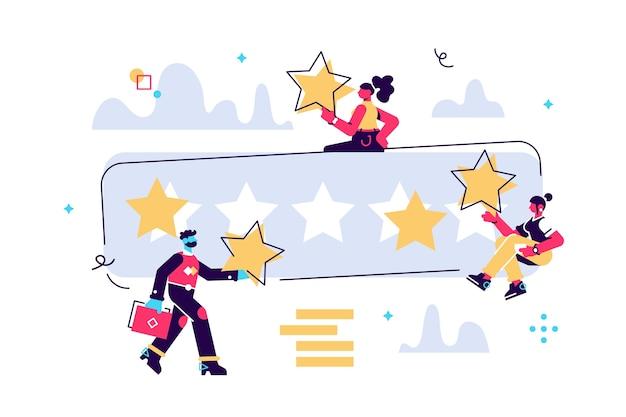 Karikaturillustration von winzigen leuten mit großen sternen in ihren händen. die beste schätzung ist die punktzahl von fünf punkten. charaktere hinterlassen feedback und kommentare, erfolgreiche arbeit ist die höchste punktzahl. Premium Vektoren
