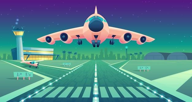 Karikaturillustration, weißes verkehrsflugzeug, jet über der piste. start oder landung von verkehrsflugzeugen Kostenlosen Vektoren