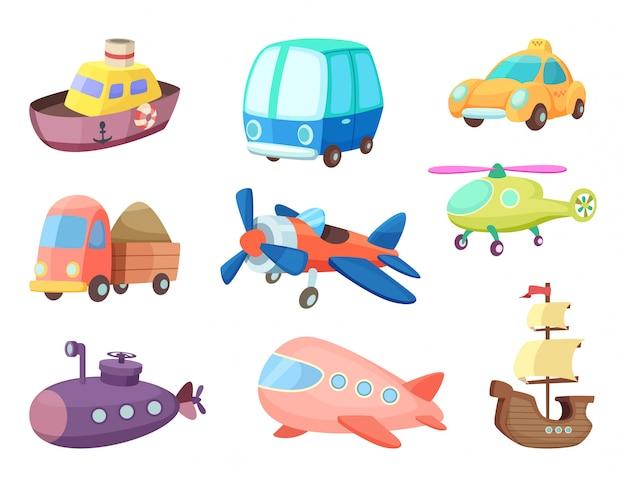 Karikaturillustrationen des verschiedenen transportes. flugzeuge, schiffe, autos und andere. vektorbilder von spielwaren für kinder Premium Vektoren