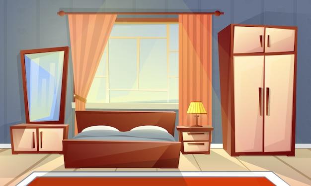 Karikaturinnenraum des gemütlichen schlafzimmers mit fenster, wohnzimmer mit doppeltem bett, aufbereiter, teppich Kostenlosen Vektoren
