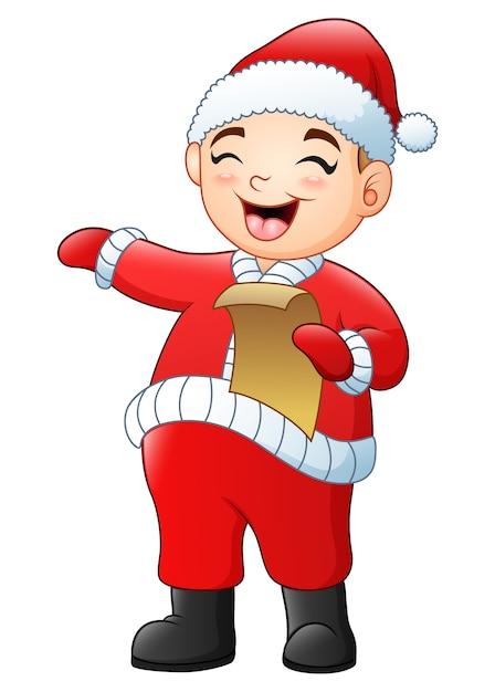 Karikaturjunge, der weihnachtsliede singt Premium Vektoren