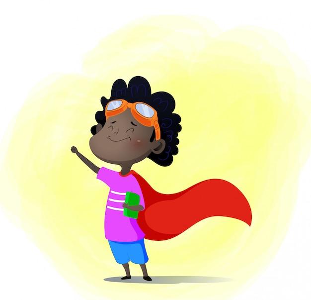 Karikaturkind, das superhelden mit buch herein spielt Premium Vektoren
