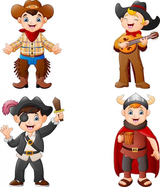 Karikaturkinder, die ein anderes kostüm tragen Premium Vektoren