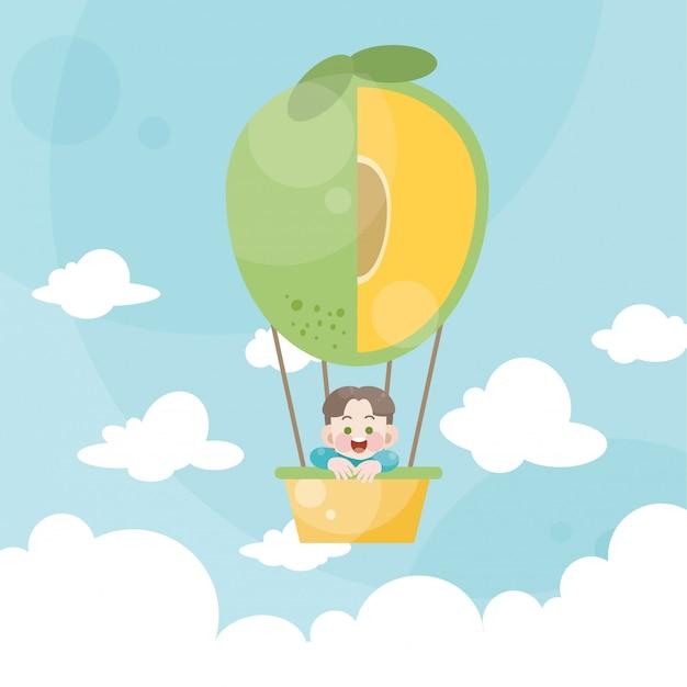 Karikaturkinder, die eine heißluftballonmango reiten Premium Vektoren