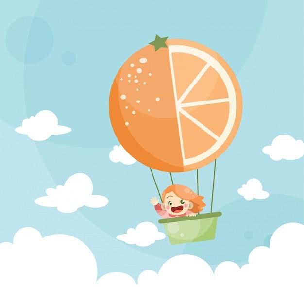 Karikaturkinder, die eine heißluftballonorange reiten Premium Vektoren