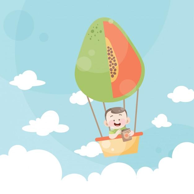 Karikaturkinder, die eine heißluftballonpapaya reiten Premium Vektoren