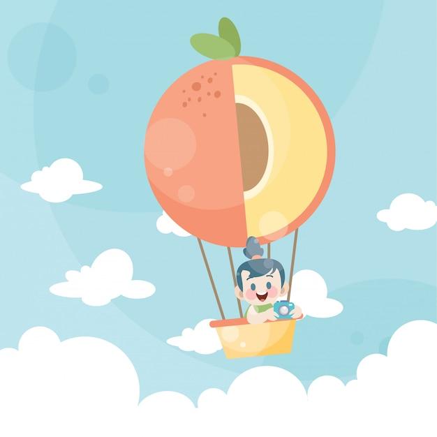 Karikaturkinder, die einen heißluftballonpfirsich reiten Premium Vektoren