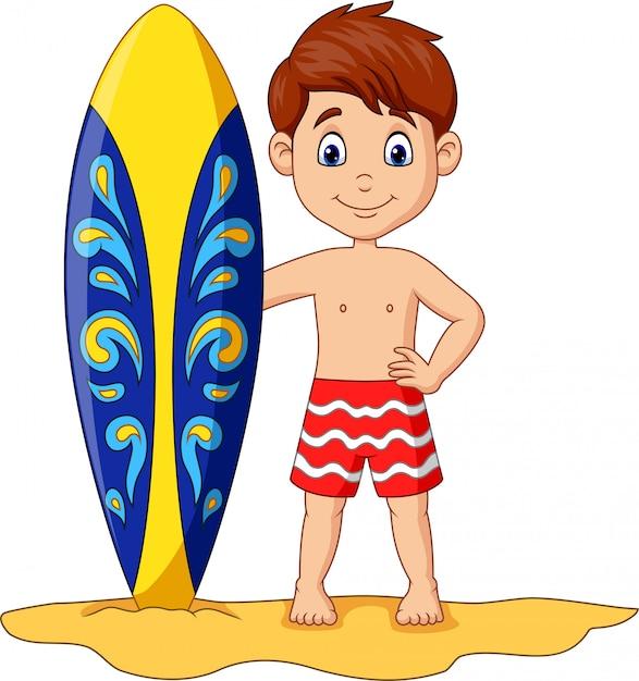 Karikaturkleinkind, das surfbrett hält Premium Vektoren