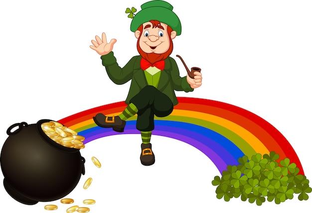 Karikaturkobold, der auf dem regenbogen sitzt Premium Vektoren