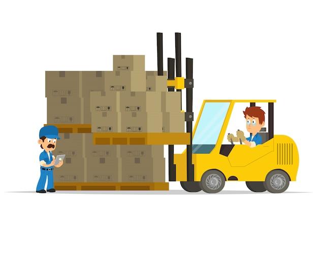 Karikaturkonzept eines logistikzentrums. Premium Vektoren