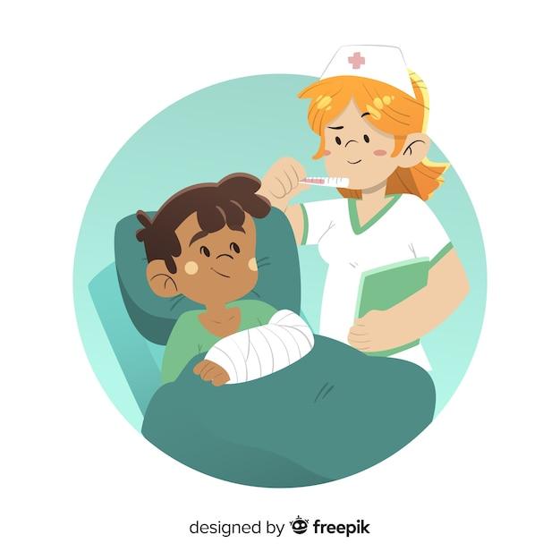 Karikaturkrankenschwester, die um patienten sich kümmert Kostenlosen Vektoren