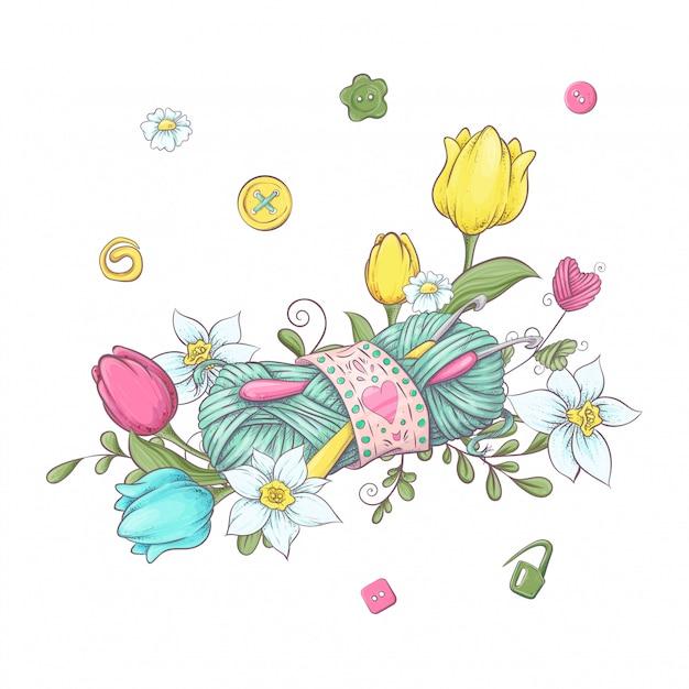 Karikaturkranz von gestrickten elementen und von zubehör und von frühlingsblumen Premium Vektoren