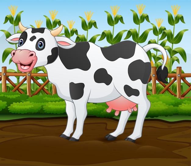Karikaturkuh im käfig mit grünpflanze Premium Vektoren
