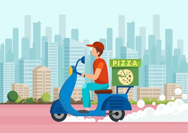 Karikaturkurier trägt pizza auf roller gegen Premium Vektoren