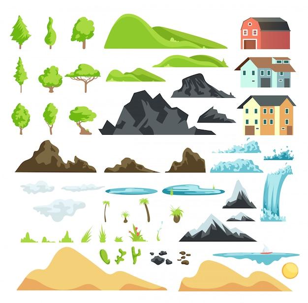 Karikaturlandschaftsvektorelemente mit bergen, hügeln, tropischen bäumen und gebäuden Premium Vektoren
