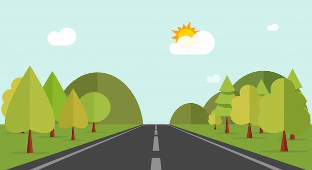 Karikaturlandstraßenstraße über grünen waldhügeln oder naturlandschaftsvektorillustration Premium Vektoren