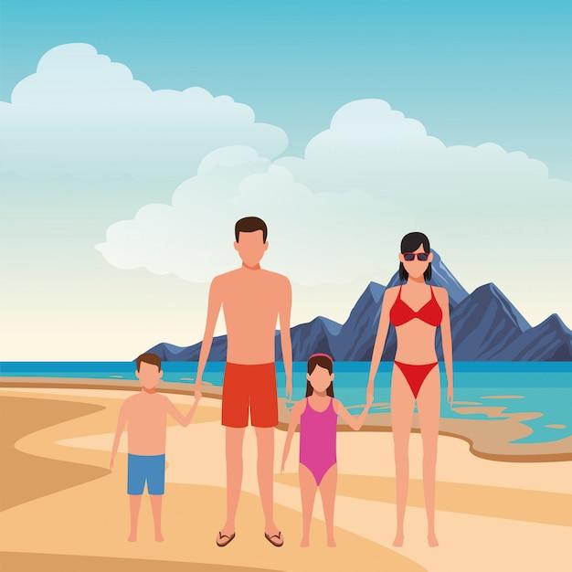 Karikaturleute in den sommerferien Premium Vektoren