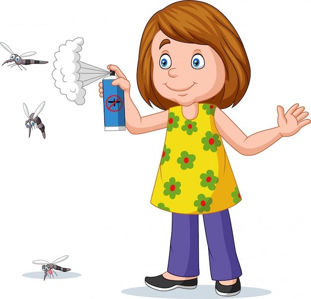 Karikaturmädchen, das einen moskito spritzt Premium Vektoren