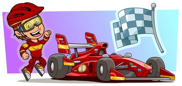 Karikaturmädchenfigur mit modernem rotem sportwagen Premium Vektoren