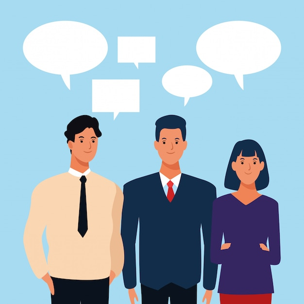 Karikaturmänner und -frau mit spracheblasen Premium Vektoren