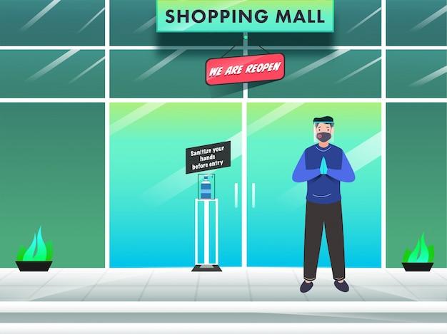 Karikaturmann, der schutzmaske mit gesichtsschutz in der begrüßungshaltung und im nachrichtentext des desinfizieren ihrer hände vor dem eintritt in das einkaufszentrum trägt. Premium Vektoren