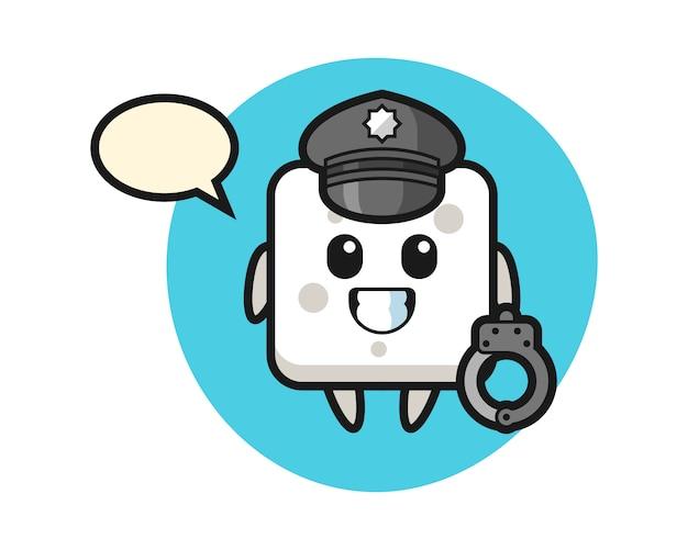 Karikaturmaskottchen des zuckerwürfels als polizei, niedlicher stil für t-shirt, aufkleber, logoelement Premium Vektoren