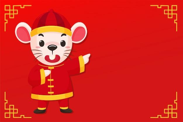 Karikaturmaus, die ein chinesisches kleid auf dem rot des chinesischen neuen jahres trägt Premium Vektoren