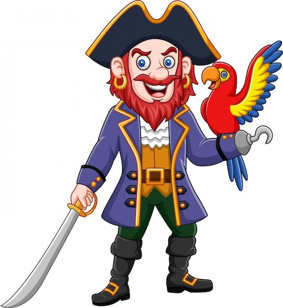 Karikaturpiratenkapitän und macawvogel Premium Vektoren