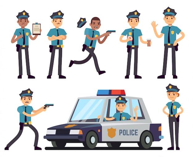 Karikaturpolizistin und polizistcharaktere im einheitlichen vektorsatz der polizei Premium Vektoren