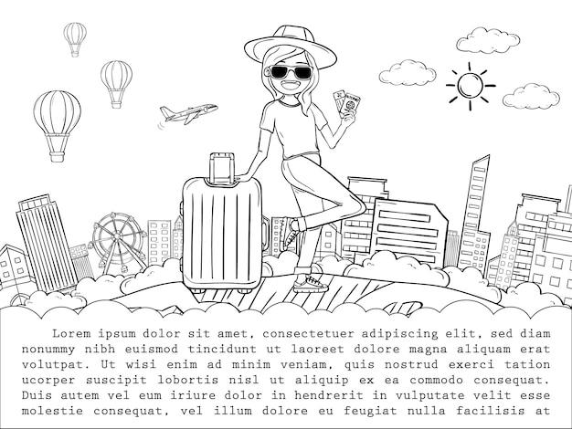 Karikaturreisender der frau des gekritzelhandabgehobenen betrages netter mit gepäckreise um das weltkonzept. hand zeichnen, Premium Vektoren