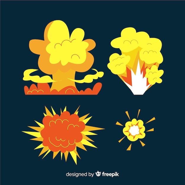 Karikatursatz bombenexplosionseffekte Kostenlosen Vektoren