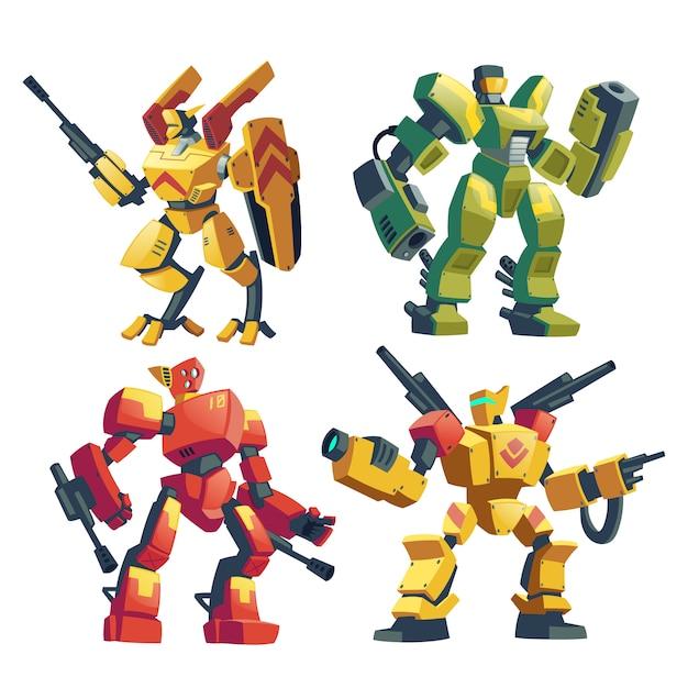 Karikatursatz mit bewaffneten transformatoren, menschliche soldaten in roboterkampf-exoskeletten Kostenlosen Vektoren