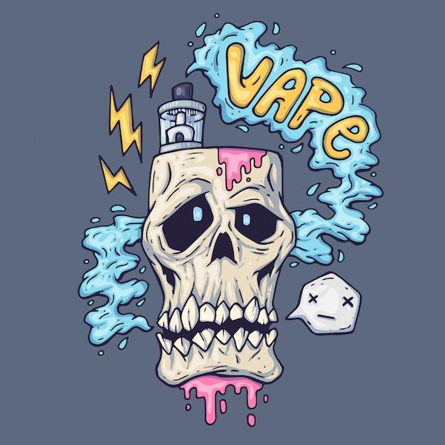 Karikaturschädel atmet dampf aus. illustration für die dampfindustrie Premium Vektoren