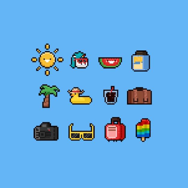 Karikatursommer-ikonensatz des pixels nettes 8-bit. Premium Vektoren