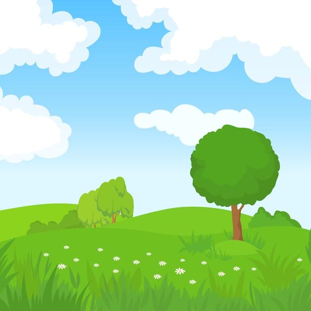 Karikatursommerlandschaft mit grünen bäumen und weißen wolken im blauen himmel. Premium Vektoren