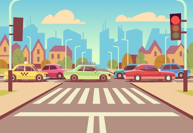 Karikaturstadtkreuzungen mit autos im stau, im bürgersteig, im zebrastreifen und in der stadtlandschaft vector illustration Premium Vektoren