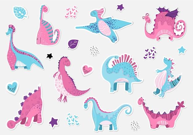 Karikatursticers von dinosauriern im skandinavischen stil Premium Vektoren